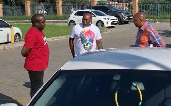 Phumlile Ncube (in the red T-shirt) outside the Midrand Magistrates Court on 27 January 2020. Picture: Department of Transport