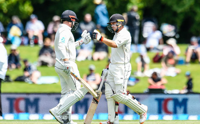 New Zealand's Tom Latham and Colin de Grandhomme in action. Picture: @BLACKCAPS/Twitter