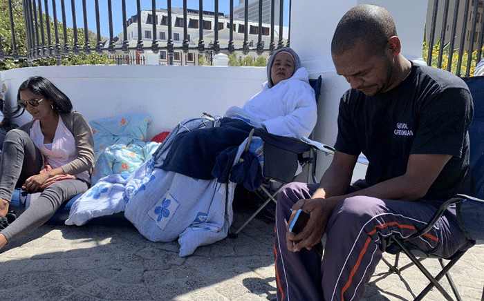 Community activist Fadiel Adams (R) who is on a hunger strike at the gates of Parliament. Picture: Kaylynn Palm/EWN.