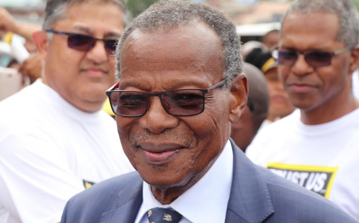 IFP leader Mangosuthu Buthelezi chats with supporters in Chatsworth ahead of the party's election launch. Picture: @IFPinParliament/Twitter.