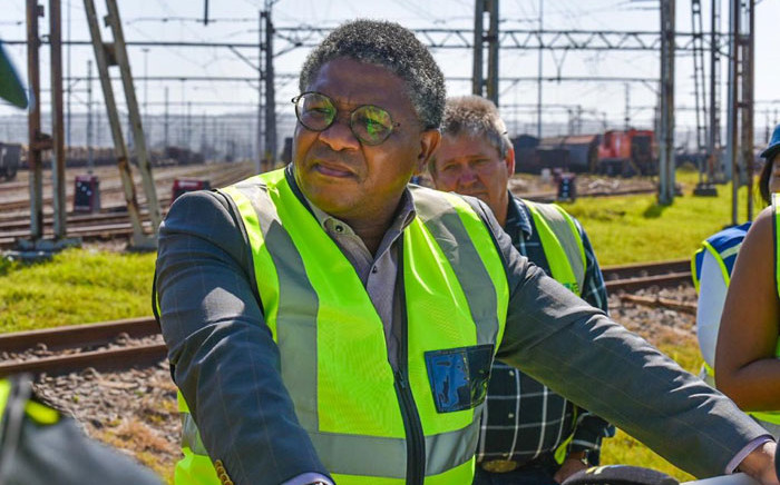 Transport Minister Fikile Mbalula inspects rail infrastructure at the Transnet Freight Rail yard in Durban on 15 August 2019. Picture: @MbalulaFikile/Twitter