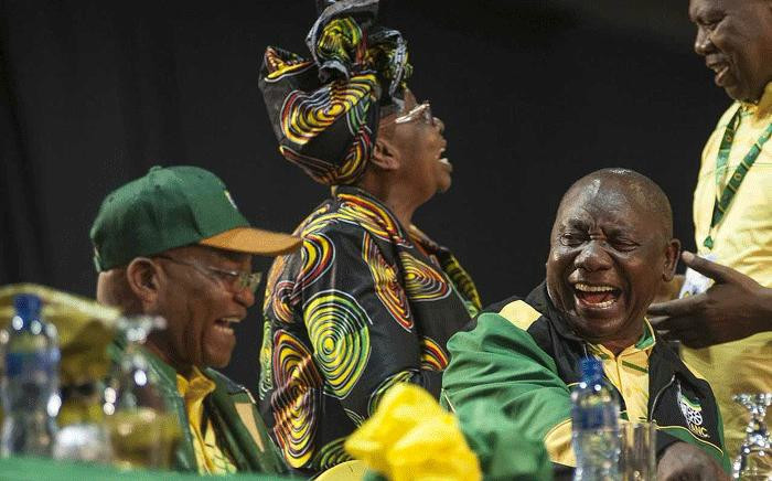 Outgoing ANC President Jacob Zuma chats with Deputy President Cyril Ramaphosa before the start of the ANC's elective conference on 16 December 2017. Picture: Ihsaan Haffejee/EWN