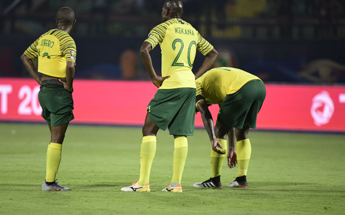 South African players react after losing the 2019 Africa Cup of Nations (CAN) Group B football match against Morocco at the Al Salam Stadium in the Egyptian capital Cairo on 1 July 2019. Picture: AFP