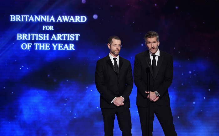 FILE: DB Weiss (L) and David Benioff present the Britannia Award for British Artist of the Year onstage at the 2018 British Academy Britannia Awards at The Beverly Hilton Hotel on 26 October 2018 in Beverly Hills, California. Picture: AFP