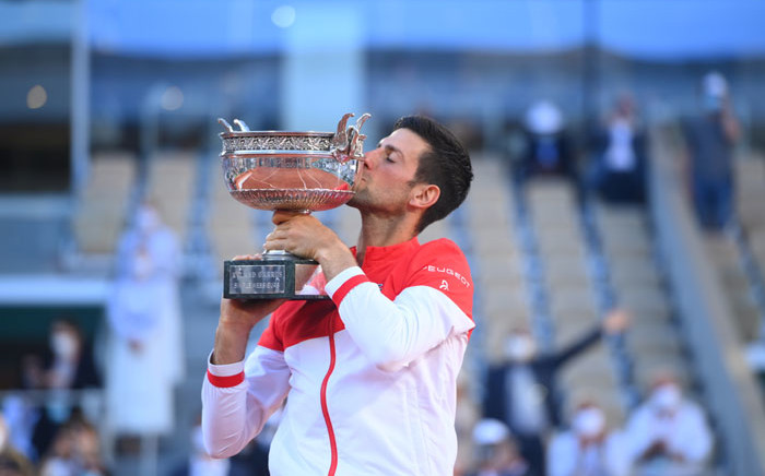 FILE: Novak Djokovic came from two sets down to beat Stefanos Tsitsipas in the final of the French open on 13 June 2021. Picture: @rolandgarros/Twitter