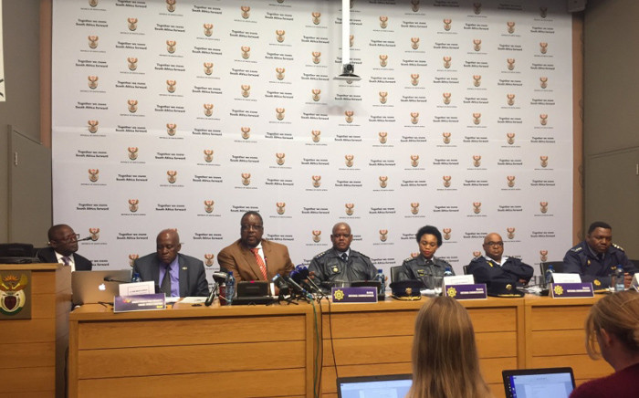 Police Minister Nathi Nhleko briefing the media on the 2015/16 crime statistics. Picture: Xolani Koyana/EWN.