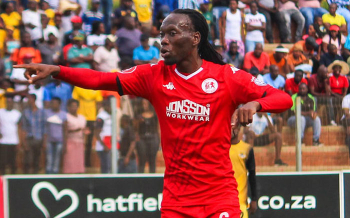 Highlands Park midfielder Reneilwe 'Yeye' Letsholonyane directs play during a match. Picture: @HighlandsP_FC/Twitter