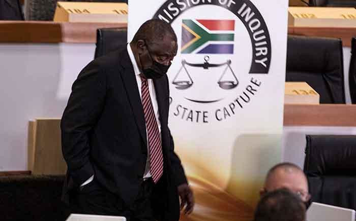 ANC President Cyril Ramaphosa returns to the witness chair after a brief adjournment at the Zondo commission of inquiry into state capture on 28 April 2021. Picture: Xanderleigh Dookey Makhaza/Eyewitness News