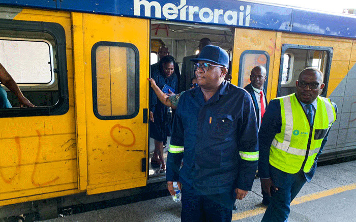 Transport Minister Fikile Mbalula and Western Cape MEC for Transport and Public Works Bonginkosi Madikizela, among others, travelled on the Central Line on 5 March 2020. Picture: Kaylynn Palm/EWN.
