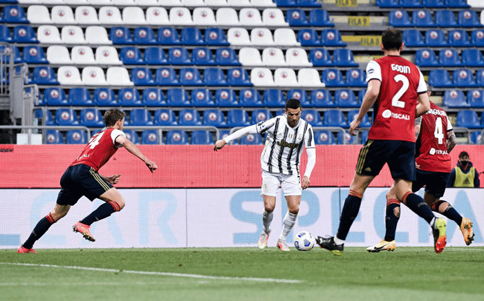 Juventus' Cristiano Ronaldo scored a hit-trick against Cagliari on 14 March 2021. Picture: @juventusfcen/Twitter.
