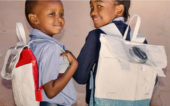 A 21-year old entrepreneur and her partner, has set the bar for local innovation by turning plastic bags into school bags that double as solar powered lights. Picture: @OfficialRethaka