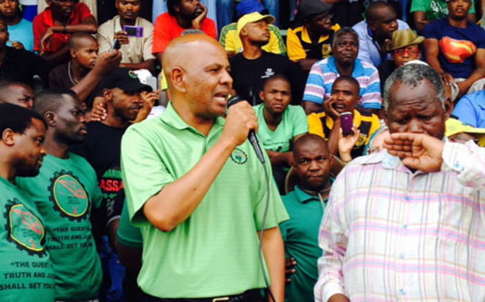 Association of Mineworkers and Construction Union (Amcu) President Joseph Mathunjwa on the first day of the union's strike on the platinum belt on 23 January 2014. Picture: Vumani Mkhize/EWN.