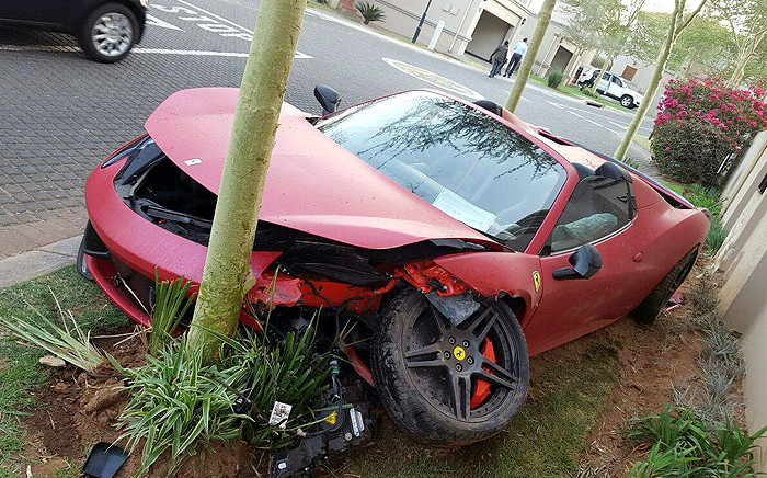 The crashed Ferrari 458 Spider at the Eagle Canyon Estate in Johannesburg. Picture: @kakspotter/Twitter