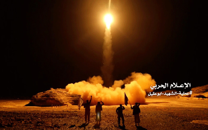 FILE: An image grab taken from a video handed out by Yemen's Houthi rebels on 27 March 2018 shows what appears to be Houthi military forces launching a ballistic missile on March 25 reportedly from the capital Sanaa. Picture: AFP