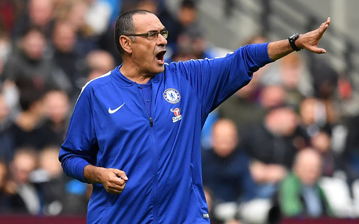 Chelsea manager Maurizio Sarri gestures on the touchline during the English Premier League football match between West Ham United and Chelsea at The London Stadium, in east London on 23 September 2018. Picture: AFP