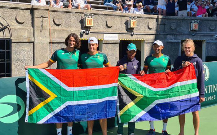Team SA celebrates their Davis Cup victory over Venezuela in New York on 19 September 2021. Picture: @TennisSA/Twitter