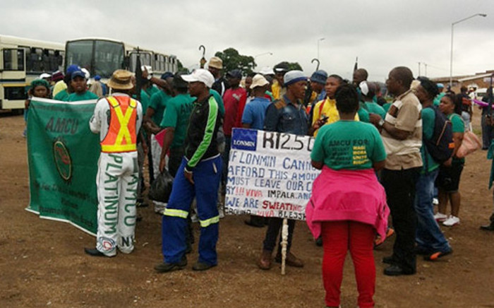 Amcu members during a wage strike. Picture: Mia Lindique/EWN.