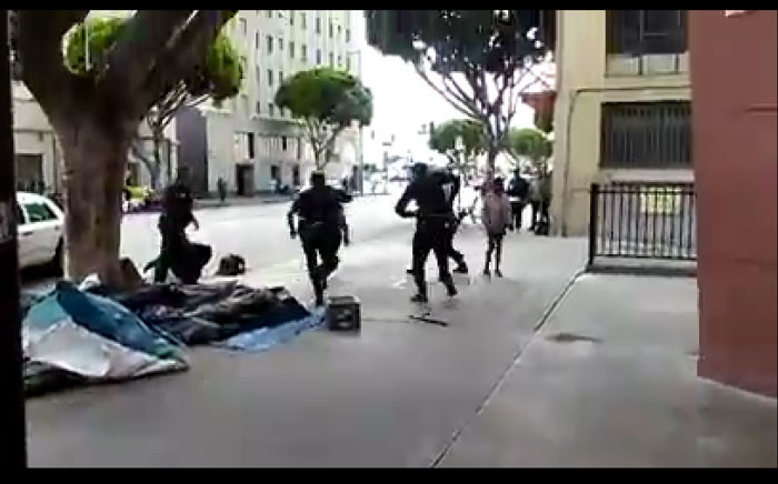 An image of the LA police beating the homeless man. Picture: Screengrab Youtube Anonymous Gui.