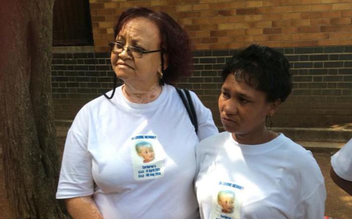 Cuburn van Wyk's grandmother, Daphany Fredericks and the boy's mother Lezell van Wyk outside court. Picture: Thando Kubheka/EWN.