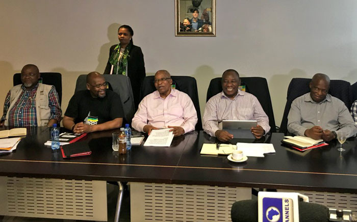 President Jacob Zuma seated with the ANC NEC top 6, and leaders of the SACP and COSATU at an alliance council at Luthuli house. Picture: Katleho Sekhotho/EWN