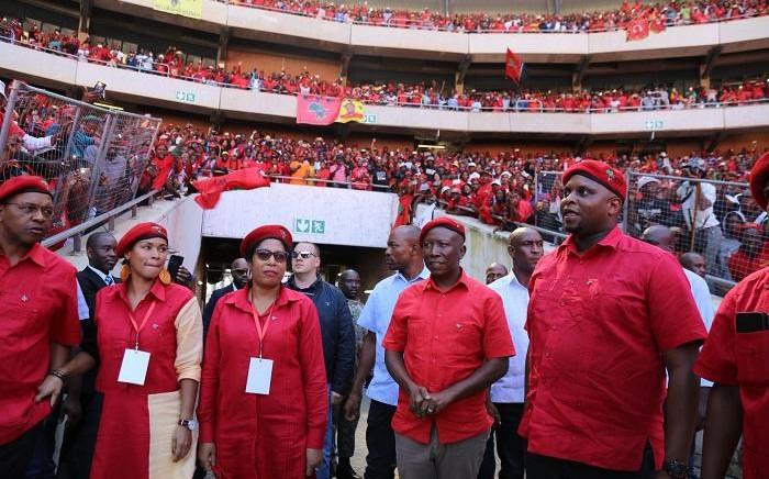 EFF leader Julius Malema arrives at Orlando Stadium for the party's Tshela Tshupa rally on Sunday 5 May 2019. Picture: Kayleen Morgan/EWN