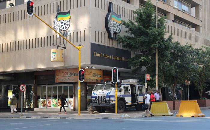 A police armoured vehicle is parked outside the ANC headquarters in Johannesburg. Picture: Christa Eybers/EWN