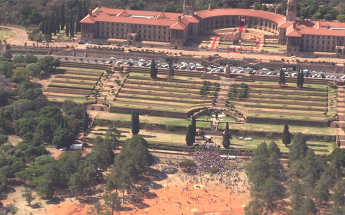 A birds eye view of the chaos which occurred in Pretoria union building on fees must fall protest. Picture: Kgothatso Mogale/EWN