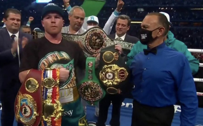 """Screenshot of Saul """"Canelo"""" Alvarez after winning his match against Billy Joe Saunders in eight rounds on Saturday, 8 May 2021. Picture: Screenshot"""