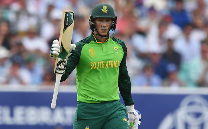 FILE: South Africa's Rassie van der Dussen celebrates after scoring a half-century (50 runs) during the 2019 Cricket World Cup group stage match between England and South Africa at The Oval in London on 30 May 2019. Picture: AFP