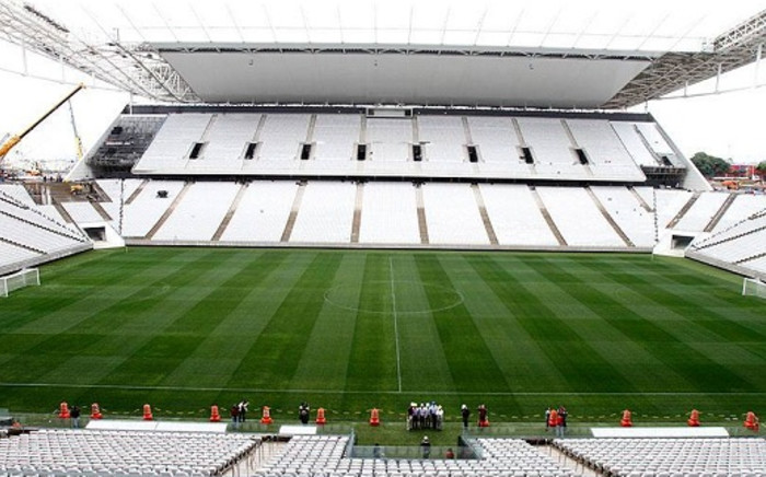 A shot of the Arena Corinthians, taken at the official handover ceremony on Tuesday 15 April, 2014. Picture: Facebook.com