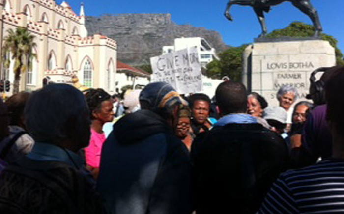 Cape Town senior citizens marched to Parliament on 30 April demanding an increase in state pension. Picture: Chanel September/EWN