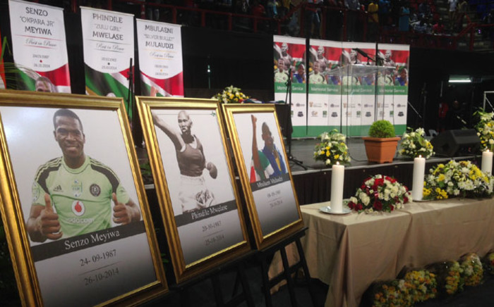 A combined memorial service for Senzo Meyiwa, Phindile Mwelase and Mbulaeni Mulaudzi held at the Standard Bank Arena on 30 October 2014. Picture: Reinart Toerien/EWN.