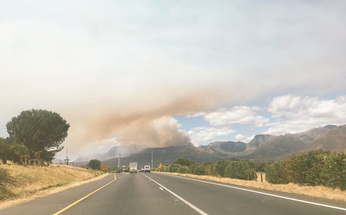 A view of the wild fire in Du Toitskloof near Paarl in the Western Cape. Picture: Louise van Wyk/iWitness