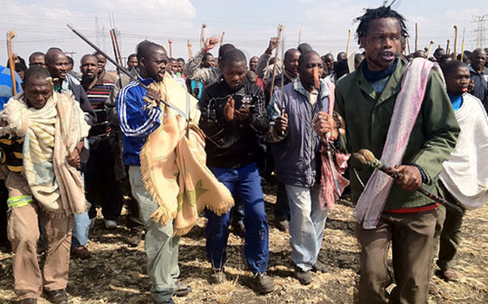 FILE: Marikana miners during wildcat strikes in August 2012. Picture: Govan Whittles/EWN
