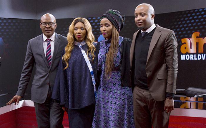 L-R: Mzwanele Manyi with Afrotone Media's new shareholders Zamaswazi Dlamini-Mandela, Unathi Mguye and Sifiso Mthethwa. Picture: Sethembiso Zulu/EWN.