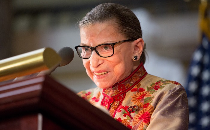 FILE: Supreme Court Justice Ruth Bader Ginsburg had surgery to remove two cancerous nodules from her left lung. US Supreme Court Justice Ruth Bader Ginsburg speaks at an annual Women's History Month reception hosted by Pelosi in the US Capitol building on Capitol Hill in Washington, D.C. Picture: AFP