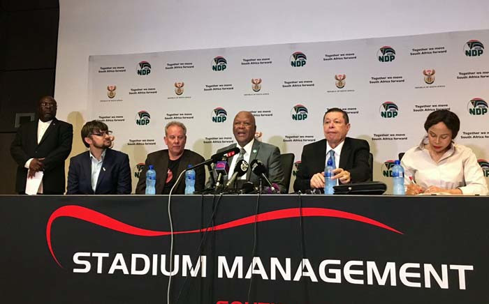 Minister Jeff Radebe led the IMC media briefing on the state of readiness for the Global Citizen Mandela 100 Festival on 30 November 2018. Picture: Katleho Sekhotho/EWN