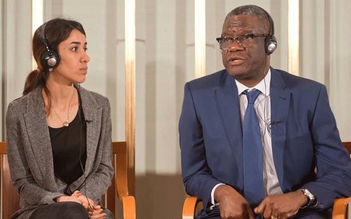 Yazidi youth activist Nadia Murad and gynaecologist Denis Mukwege. Picture: @DenisMukwege/Twitter.