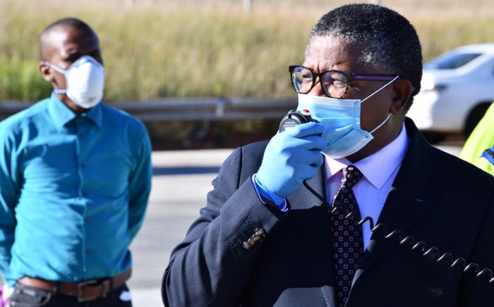 Transport Minister Fikile Mbalula (R) made the announcement of the Easter period road traffic accidents on 17 April 2020 at a press briefing at the Grasmere toll plaza on the N1. Picture: @MbalulaFikile/Twitter