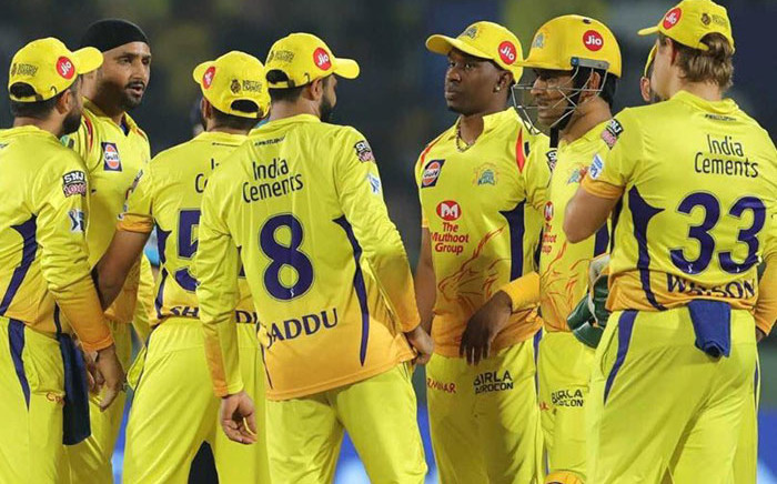 FILE: Chennai Super Kings players celebrate the fall of a wicket. Picture: @ChennaiIPL/Twitter