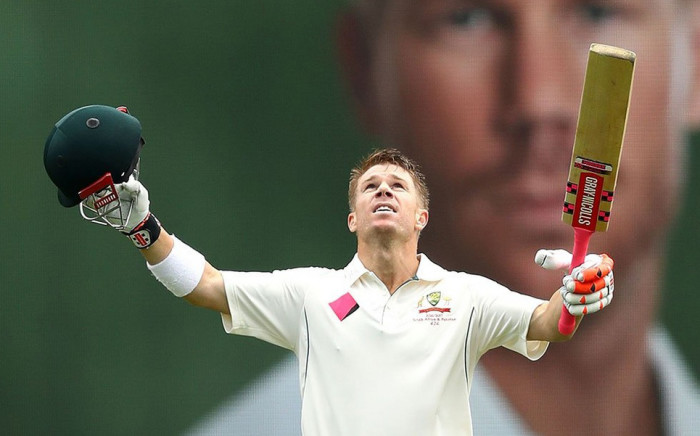 FILE: David Warner reacts after hitting a record century. Picture: @CricketAus.