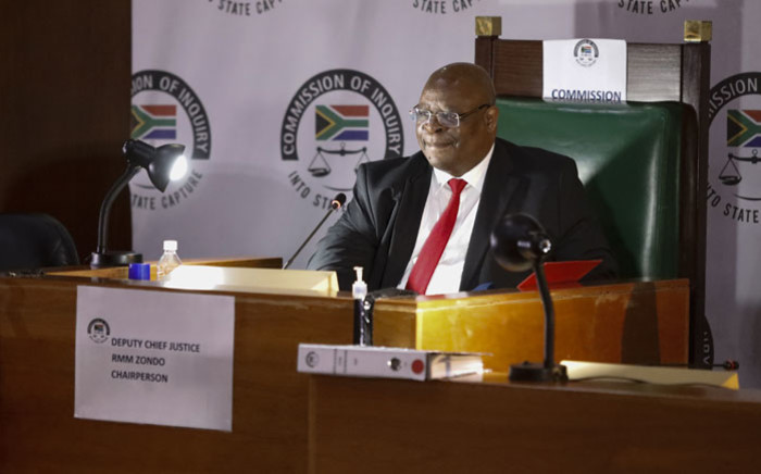 Deputy Chief Justice Raymond Zondo is seen during a session of the commission of inquiry into state capture in Johannesburg on 16 November 2020. Picture: AFP