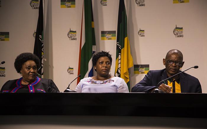 FILE: Sisi Ntombela, premier of the Free State, and Refilwe Mtshweni, the premier of Mpumalanga, and ANC secretary-general Ace Magashule. Photo: Kayleen Morgan /EWN