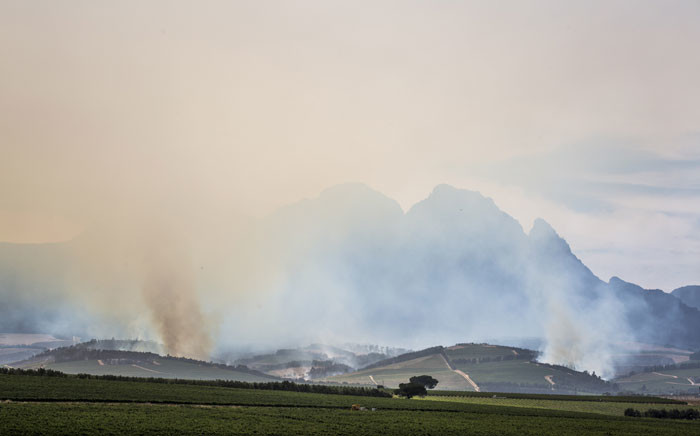Columns of smoke rise from the Cape winelands outside Stellenbosch on the morning of 22 January 2016 as firefighters and farm owners face a third day of battling the Simonsberg fire. Picture: Aletta Harrison/EWN