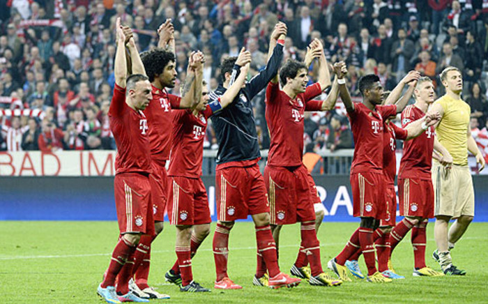 Bayern Munich players celebrate after beating Barcelona 4-0 in their first leg semifinal of the Champions League on 23 April 2013. Picture: AFP