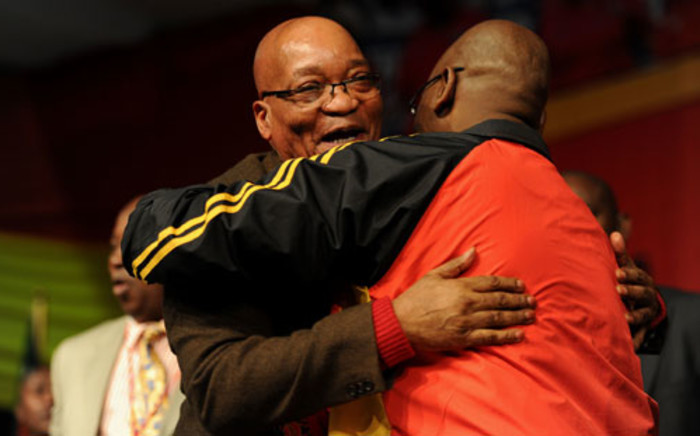 FILE: President Jacob Zuma greets Cosatu President Sidumo Dlamini at the trade union federation's 11th national congress in September 2012. Picture: Sapa.