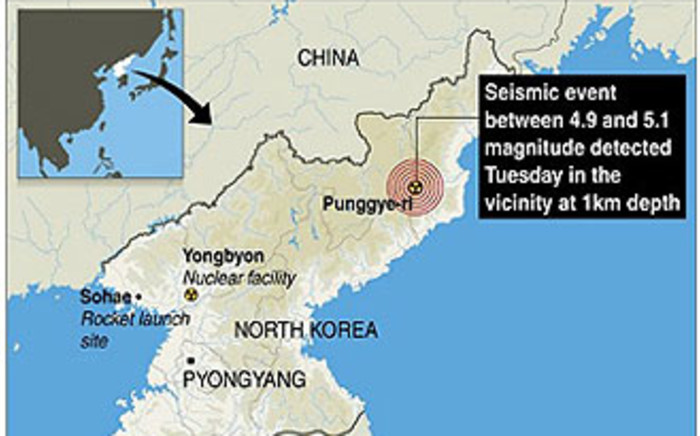"""A graphic from AFP shows Punggye-ri nuclear test site in North Korea where an """"artificial earthquake"""" was detected on 12 February 2013. Picture: AFP/GAL/JS"""