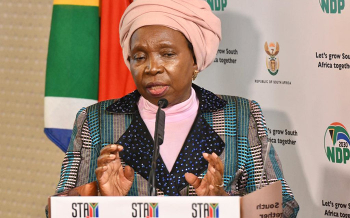 Cooperative Governance Minister Nkosazana Dlamini-Zuma at a briefing on the coronavirus in Pretoria on 28 May 2020. Picture: Supplied.
