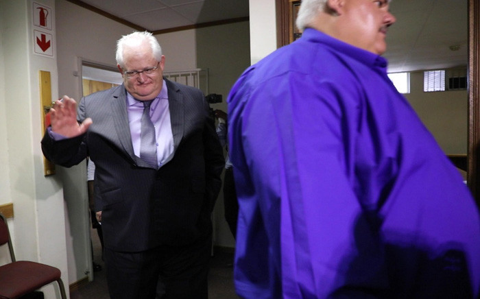FILE: Andries van Tonder and Angelo Agrizzi arrive at the Specialised Commercial Crimes Court in Pretoria on 6 February 2019. The pair and five others have been charged with corruption, money laundering and fraud. Picture: Abigail Javier/EWN