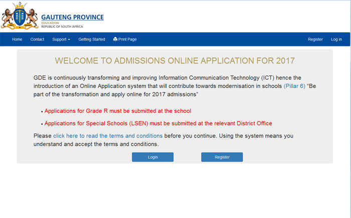 FILE:  A screengrab of the Gauteng Education Department's online registration online portal.